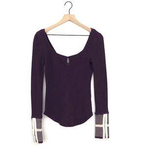 Free People Mod Stripe Cuff Thermal Top Purple
